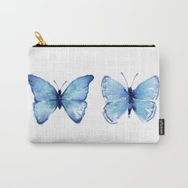 Two Blue Butterflies Watercolor Carry-All Pouch