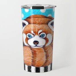 Cute Red Panda Polka Dot Travel Mug