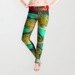 SEA SHELLS YELLOW-RED FISH AQUATIC ART VIGNETTE Leggings