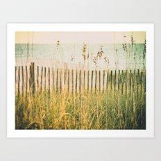 Beach Fence at Sunrise -- High Key Art Print