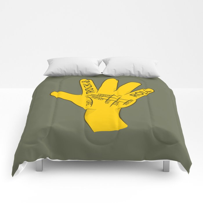 Palmistry Rock and Roll Comforters