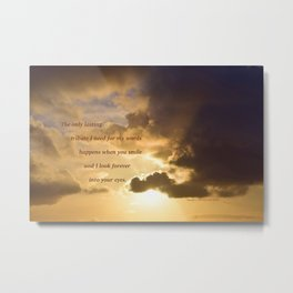 Long Beach Sunset with poem: Lasting Tribute Metal Print