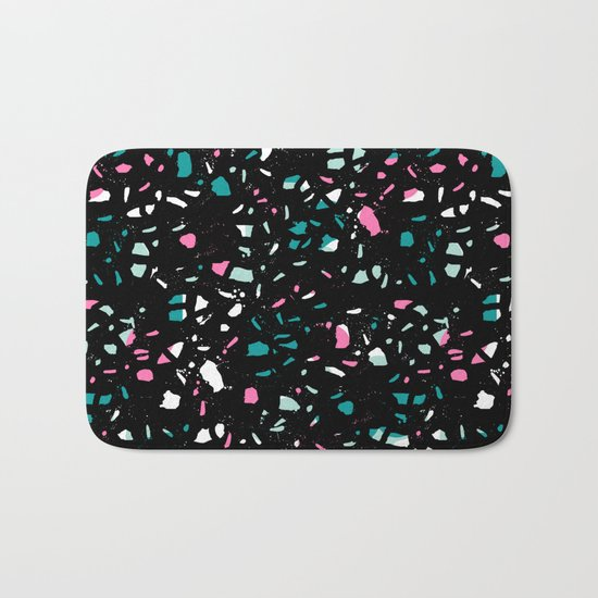 Terrazo black neon pattern trendy urban bklyn modern design paint splat pop art hipster gifts Bath Mat