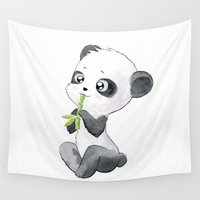 panda Wall Tapestries featuring Panda by Freeminds
