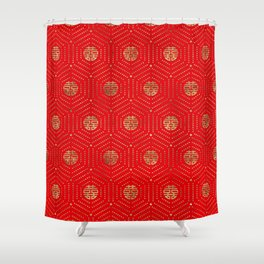 Double Happiness Symbol Pattern gold on red Shower Curtain