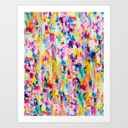 Bright Colorful Abstract Painting in Neons and Pastels Kunstdrucke