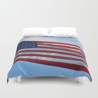 american flag Duvet Covers featuring American Flag by Sarah Shanely Photography