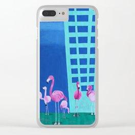 Flamingo Pop Art Painting Clear iPhone Case