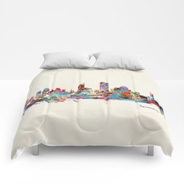 Sacramento California skyline Comforters