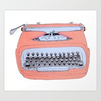 writer Art Prints featuring Easy Writer by alison dillon art