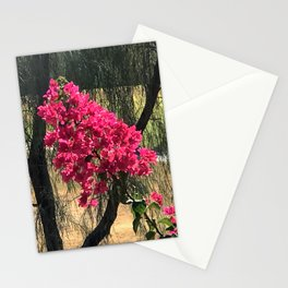 Unexpected Vibrant Pink-Magenta Flowers Under Lyrical Tree Stationery Cards