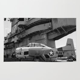 Warbird Up Top On The USS.Hornet BW Rug