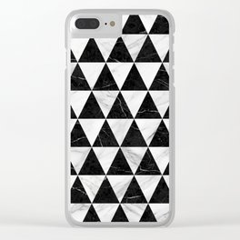 Marble Triangle Pattern - Black and White Clear iPhone Case