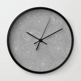 Peony Flower Pattern II Wall Clock