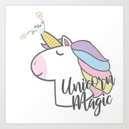 Unicorn magic - Popcorn Art Print
