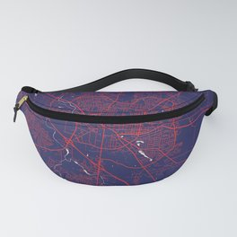 Murfreesboro, TN, USA, Blue, White, City, Map Fanny Pack