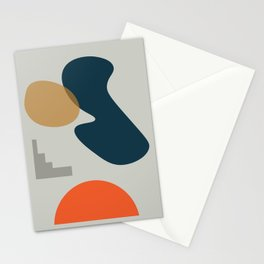 Abstract # 2 Grey Blue Orange Stationery Cards