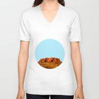 polygon V-neck T-shirts featuring uluru polygon by Matthias Hennig
