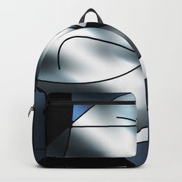 ABSTRACT CURVES #1 (Black, Grays & White) Backpack