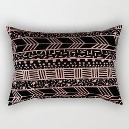 Girly faux rose fold  black geometric brushstrokes tribal Rectangular Pillow
