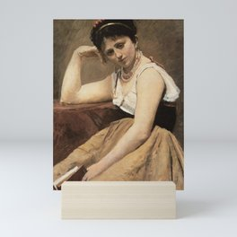 Jean-Baptiste-Camille Corot - Interrupted Reading Mini Art Print