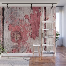 Wooden Planks With Snugs And Eroded Red Paint Wall Mural