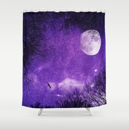 Nightsky with Full Moon in Ultra Violet Shower Curtain