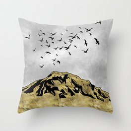 Landscape with golden mountains and birds Throw Pillow