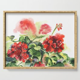 plant geranium, flowers and leaves, watercolor Serving Tray