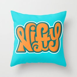 NIFTY HAND LETTERING DESIGN II (ORANGE ON BLUE) Throw Pillow