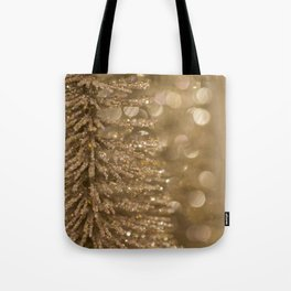 Golden Christmas Gliter Tree Decoration Tote Bag