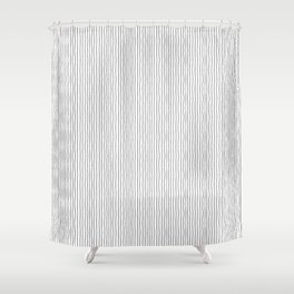 Abstract geometrical gray hand painted wavy stripes pattern Shower Curtain