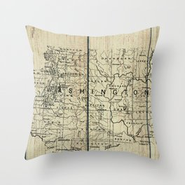 Washington State Rustic Map Throw Pillow