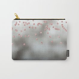 Rose gold  pink glitter confetti on silver metal background Carry-All Pouch