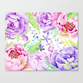 Watercolor Pink and Purple Peony Frame Canvas Print