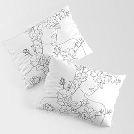 Minimal Line Art Woman with Wild Roses Pillow Sham