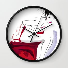 Naked Beauty, Nude Body, Fashion Painting, Fashion IIlustration, Vogue Portrait, Red colour, #14 Wall Clock