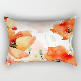 Midsummer Botanical Poppy Garden Rectangular Pillow