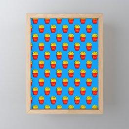 french fries on blue Framed Mini Art Print
