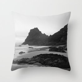 Mist Rolling in at Kynance Cove Throw Pillow