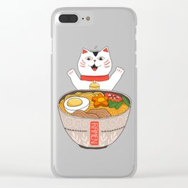 Liter of Ramen. Japanese soup and Manekineko cat. Clear iPhone Case