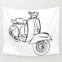 vespa Wall Tapestries featuring Vespa by tuditees