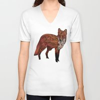 jon snow V-neck T-shirts featuring Red Fox by Ben Geiger