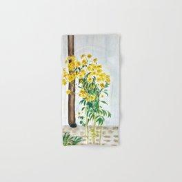 sun choke flowers outside a house Hand & Bath Towel