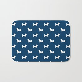 Cairn Terrier dog breed navy and white dog pattern pet dog lover minimal Bath Mat