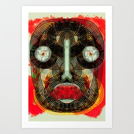Graffiti Outsider Art Portrait in Red Art Print