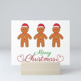 Merry christmas gingerbread men Mini Art Print
