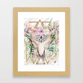 Skull boho and triangles Framed Art Print