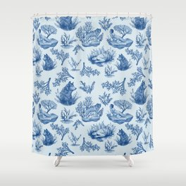 """I'm Still an Animal"" Toile (Blue) Shower Curtain"
