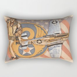 Aviation Pinups - P-51 Mustang Rectangular Pillow